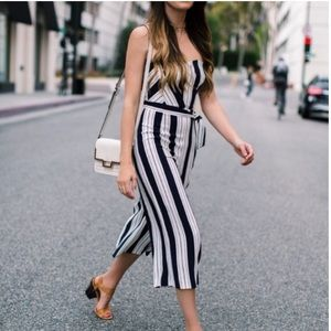 H&M strapless jumpsuit small 4 striped culottes
